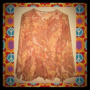 Vintage Nira Nira 60's/70's hippie boho silk top